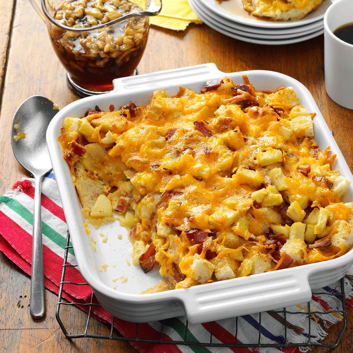 Apple, Cheddar & Bacon Bread Pudding Recipe