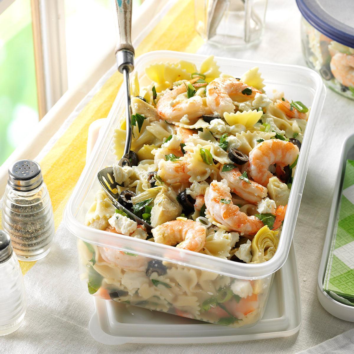 Artichoke shrimp pasta salad recipe taste of home for Prawn and pasta salad recipes
