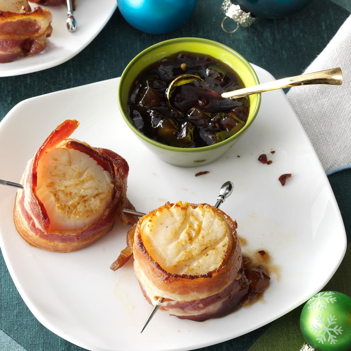 Bacon-Wrapped Scallops With Pear Sauce Recipe