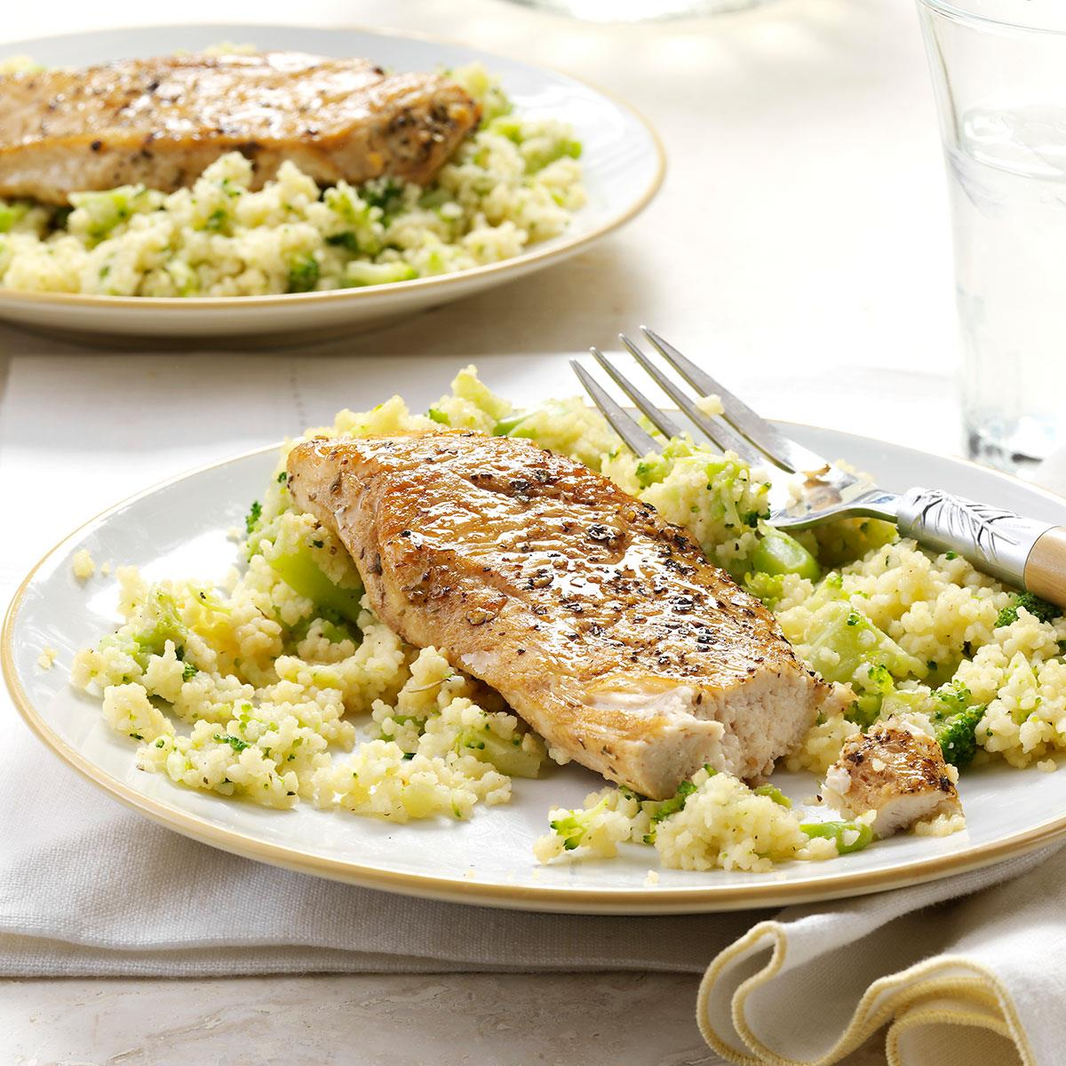 Balsamic chicken with broccoli couscous recipe taste of home sisterspd