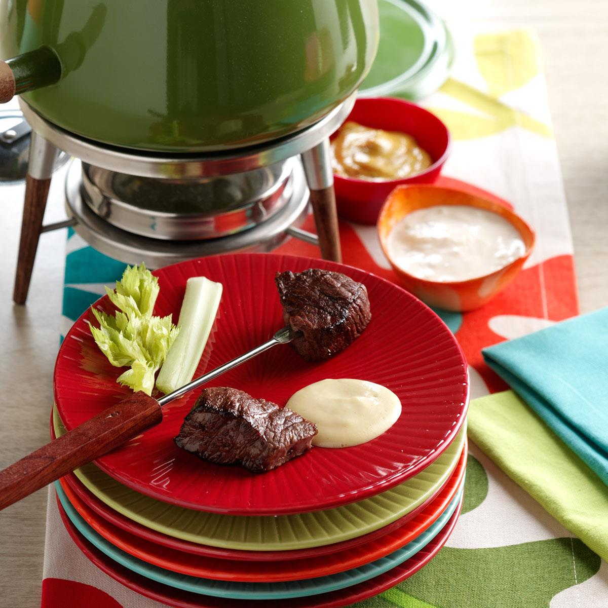 beef fondue with sauces recipe taste of home. Black Bedroom Furniture Sets. Home Design Ideas