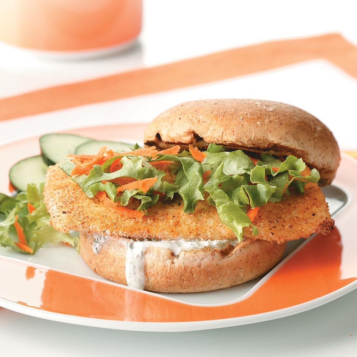 Breaded fish sandwiches recipe taste of home for Fish stick sandwich