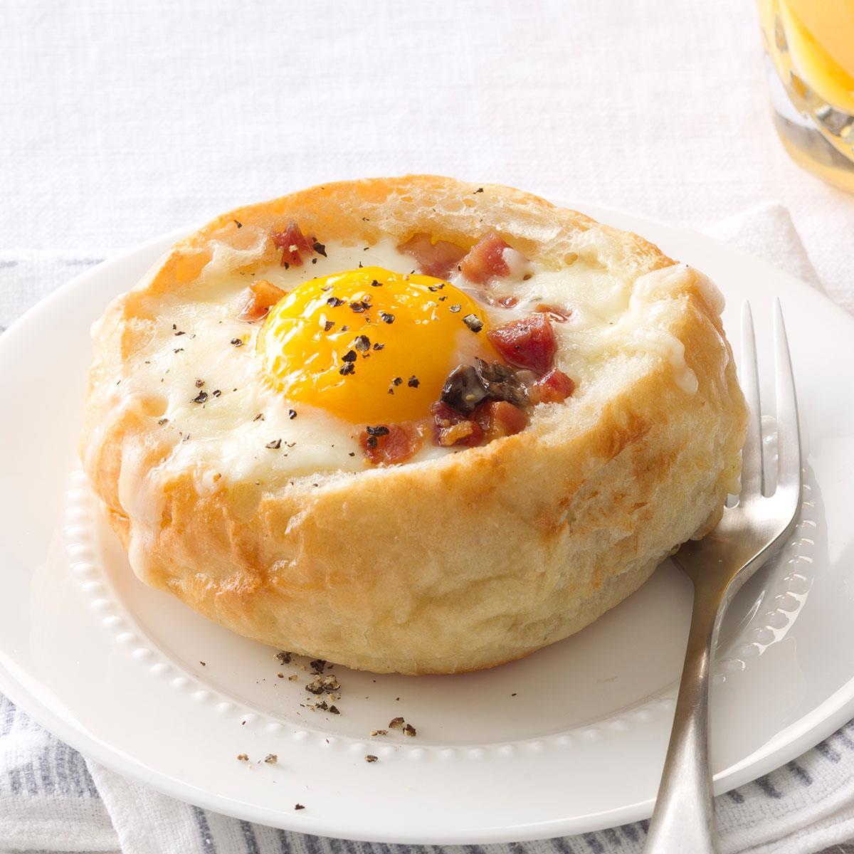 Baked Egg Topping In Bread Bowl: Breakfast Bread Bowls Recipe