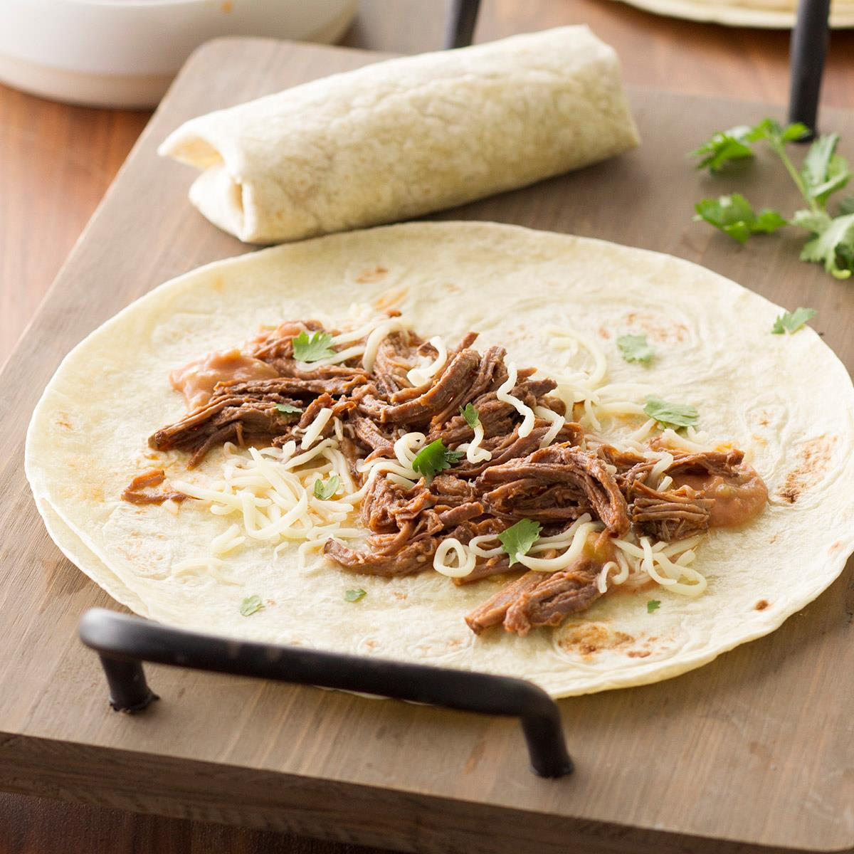 Brisket N Bean Burritos Recipe Taste Of Home