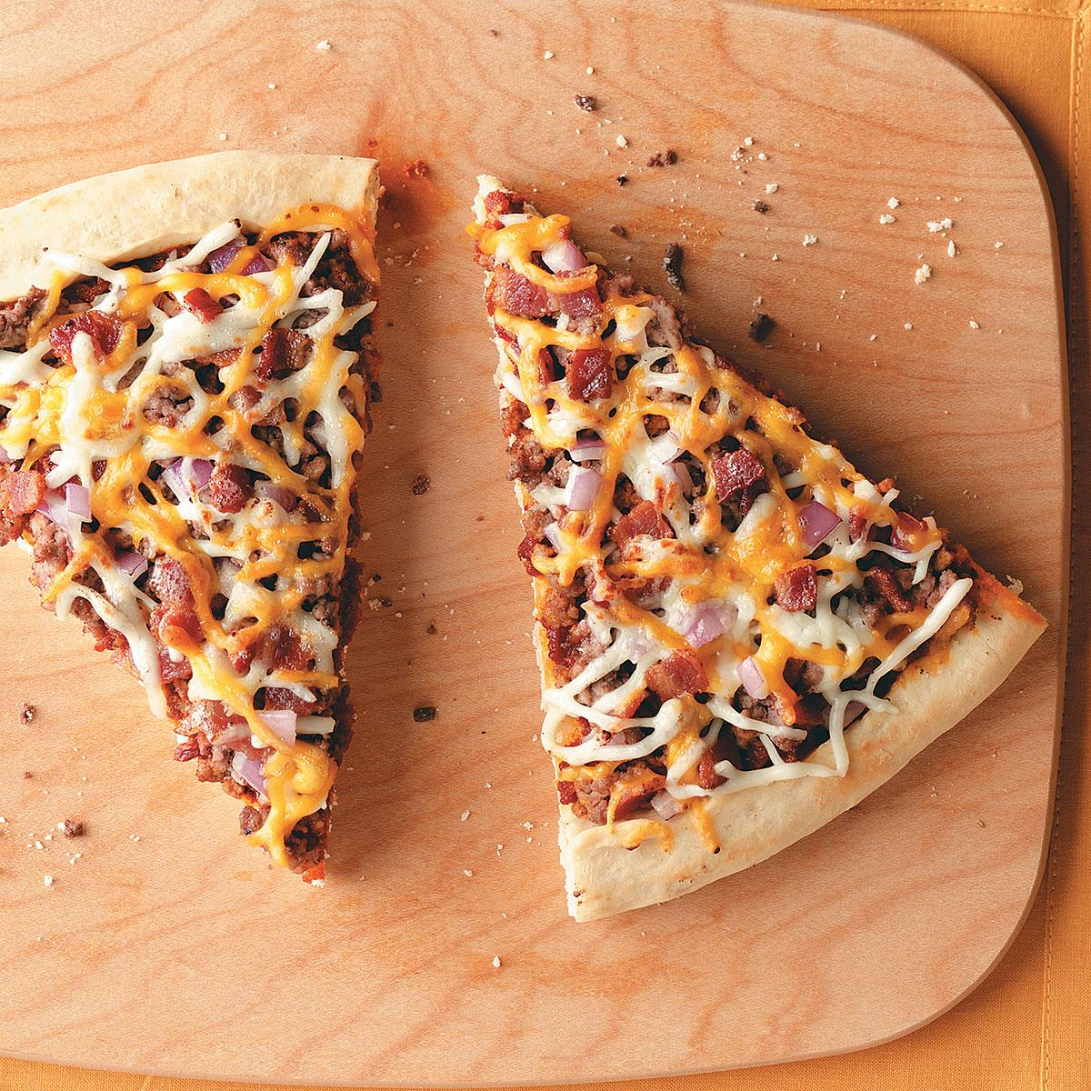 Cheesy Bacon Burger Pizza Recipe | Taste of Home