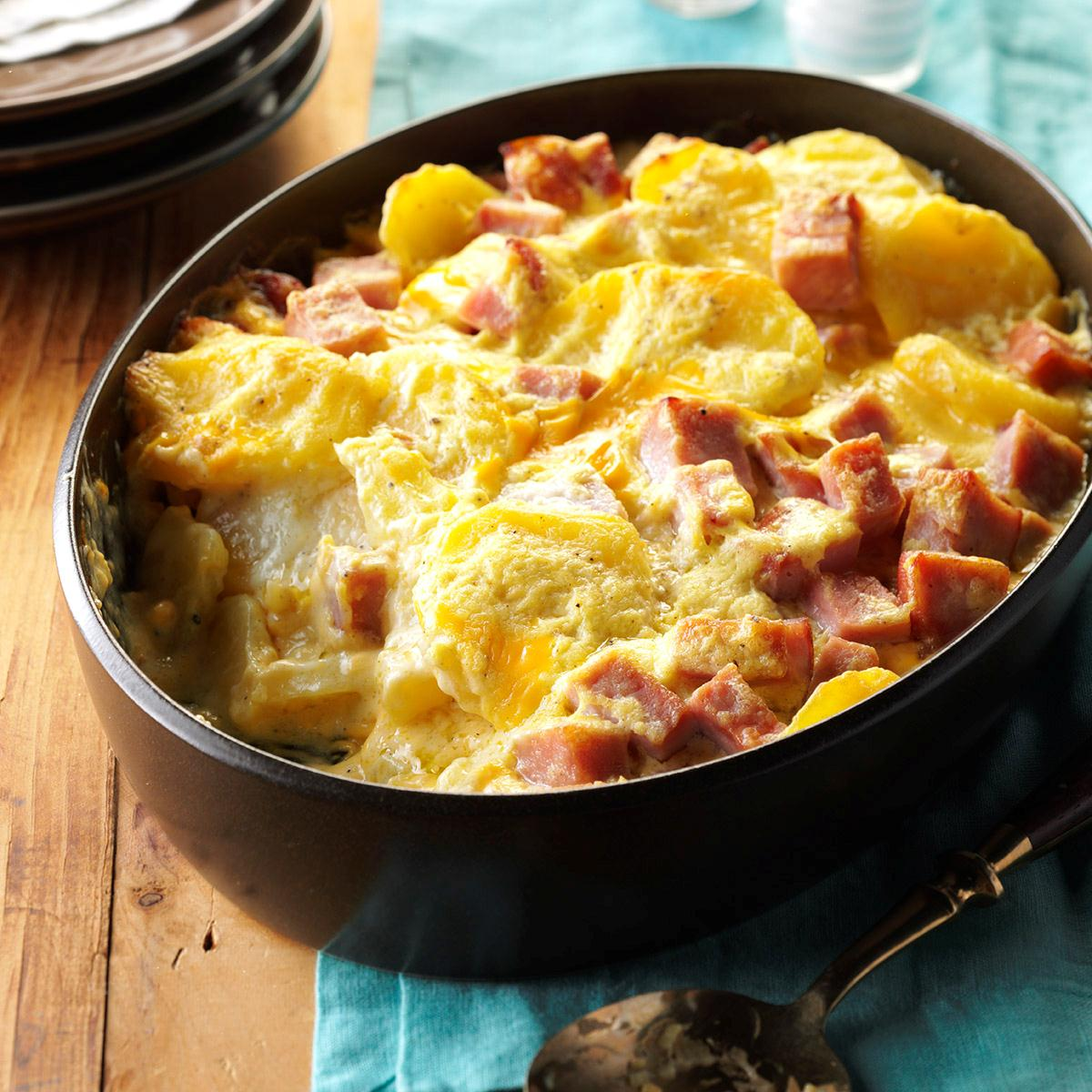 Cheesy Scalloped Potatoes Amp Ham Recipe Taste Of Home