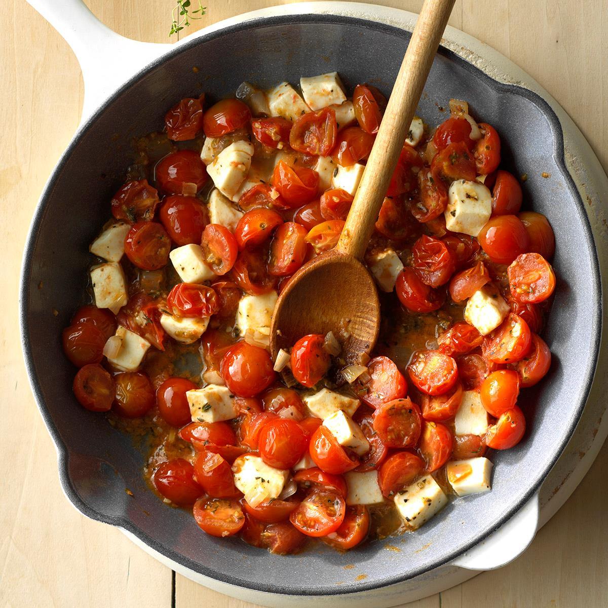 70 Saucy Creamy And Cheesy Italian Christmas Food Recipes: Cherry Tomato Mozzarella Saute Recipe