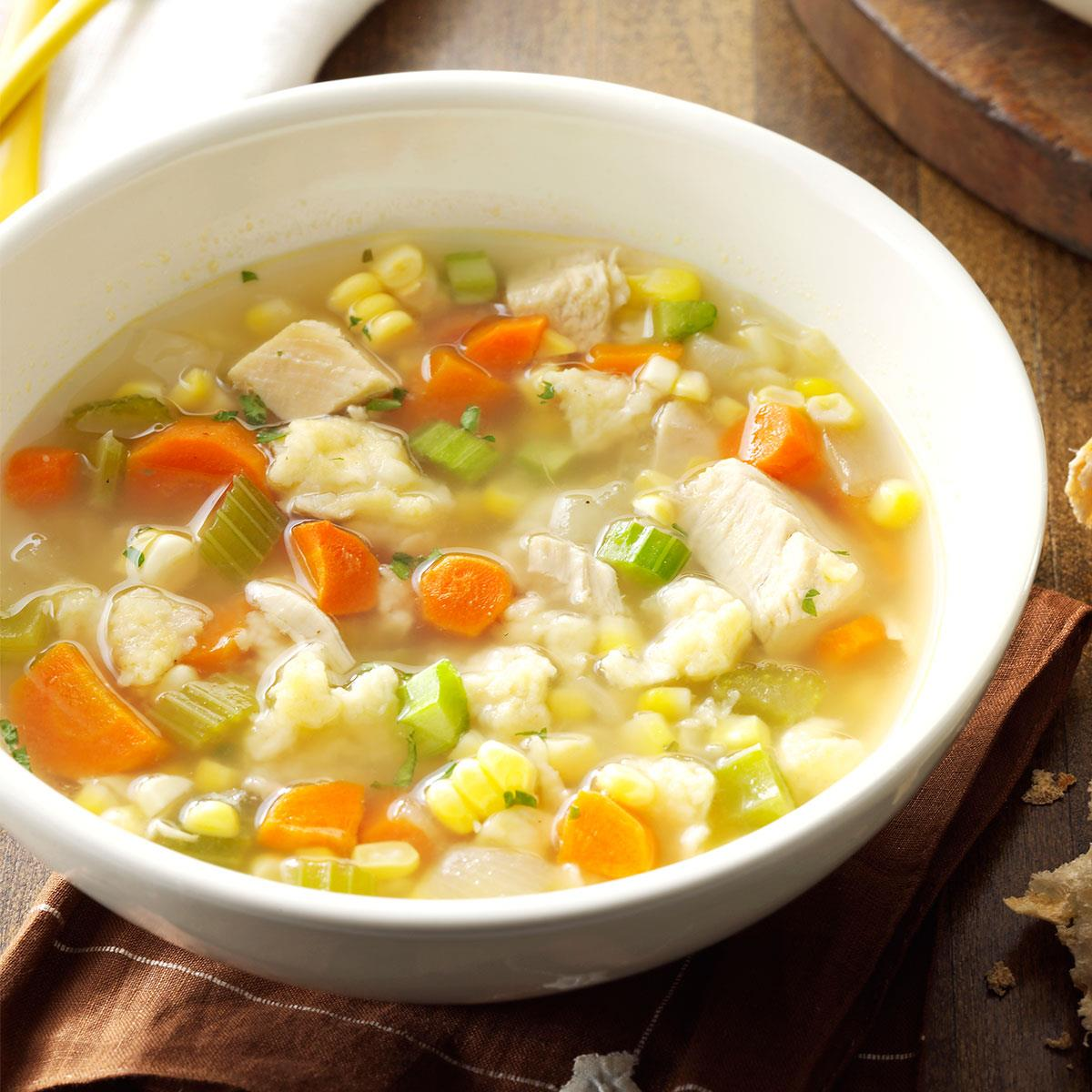 Chicken Corn Soup With Rivels Recipe Taste Of Home