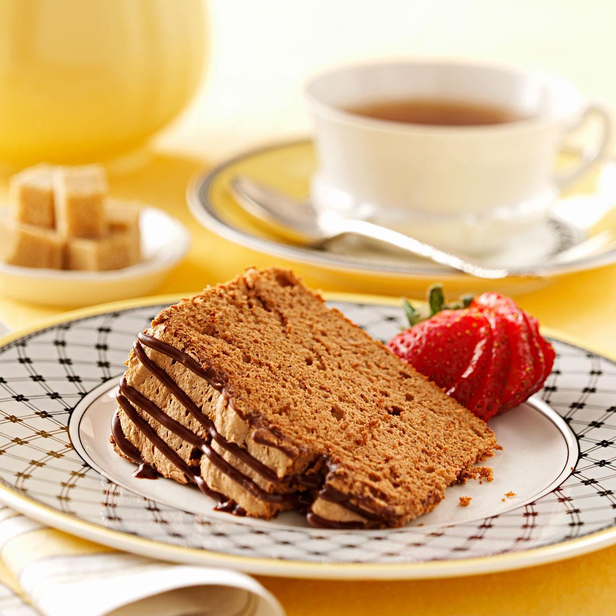 Chocolate angel food cake with chocolate icing recipe taste of home - Herve cuisine cake chocolat ...