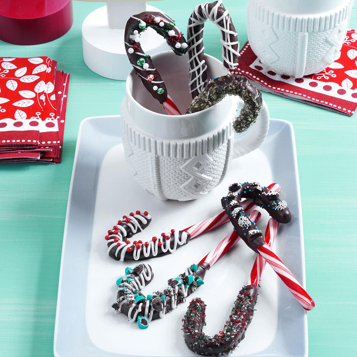 Chocolate-Dipped Candy Canes Recipe | Taste of Home
