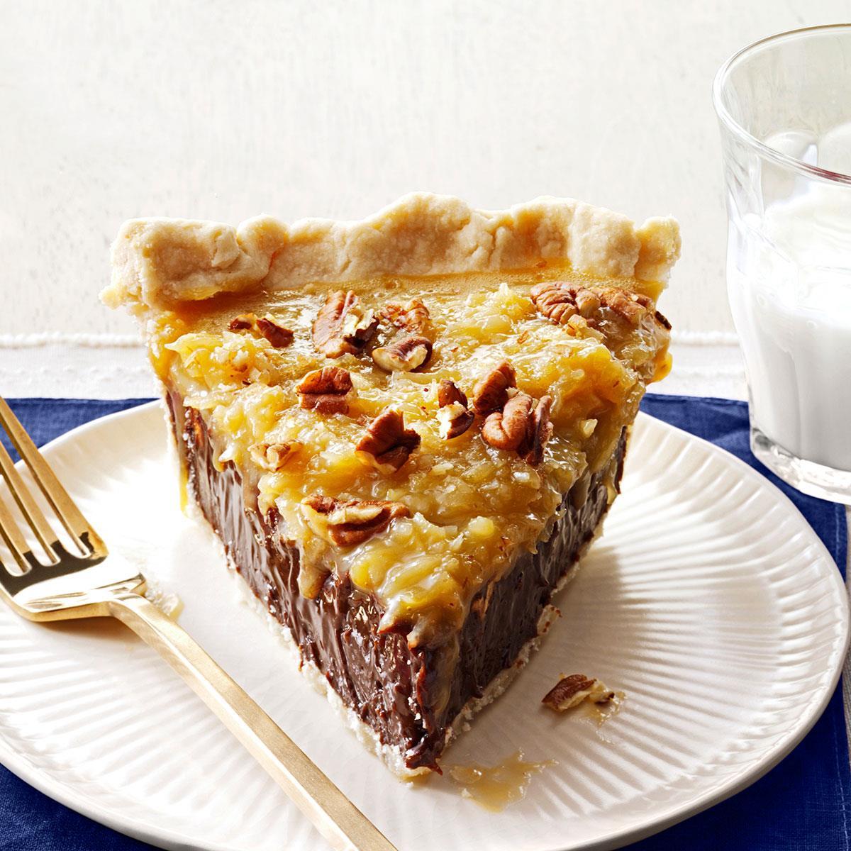 coconut-pecan german chocolate pie recipe | taste of home