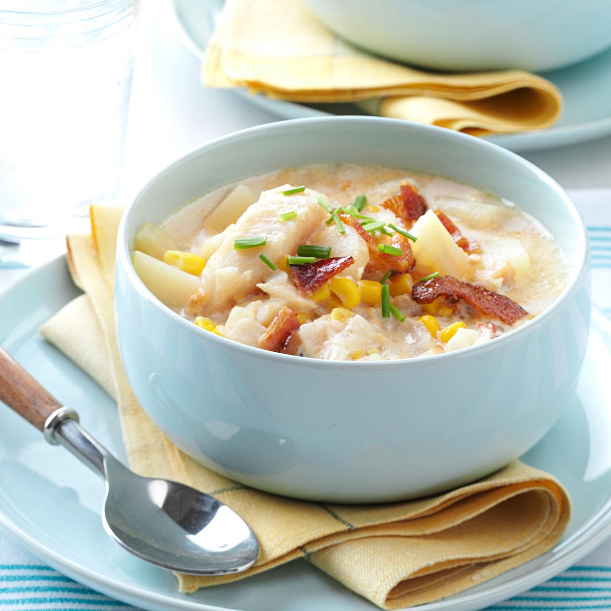 Country fish chowder recipe taste of home for Fish soup recipe cod