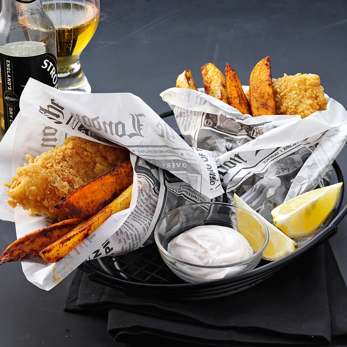 Crispy beer battered fish recipe taste of home for Fish and beer