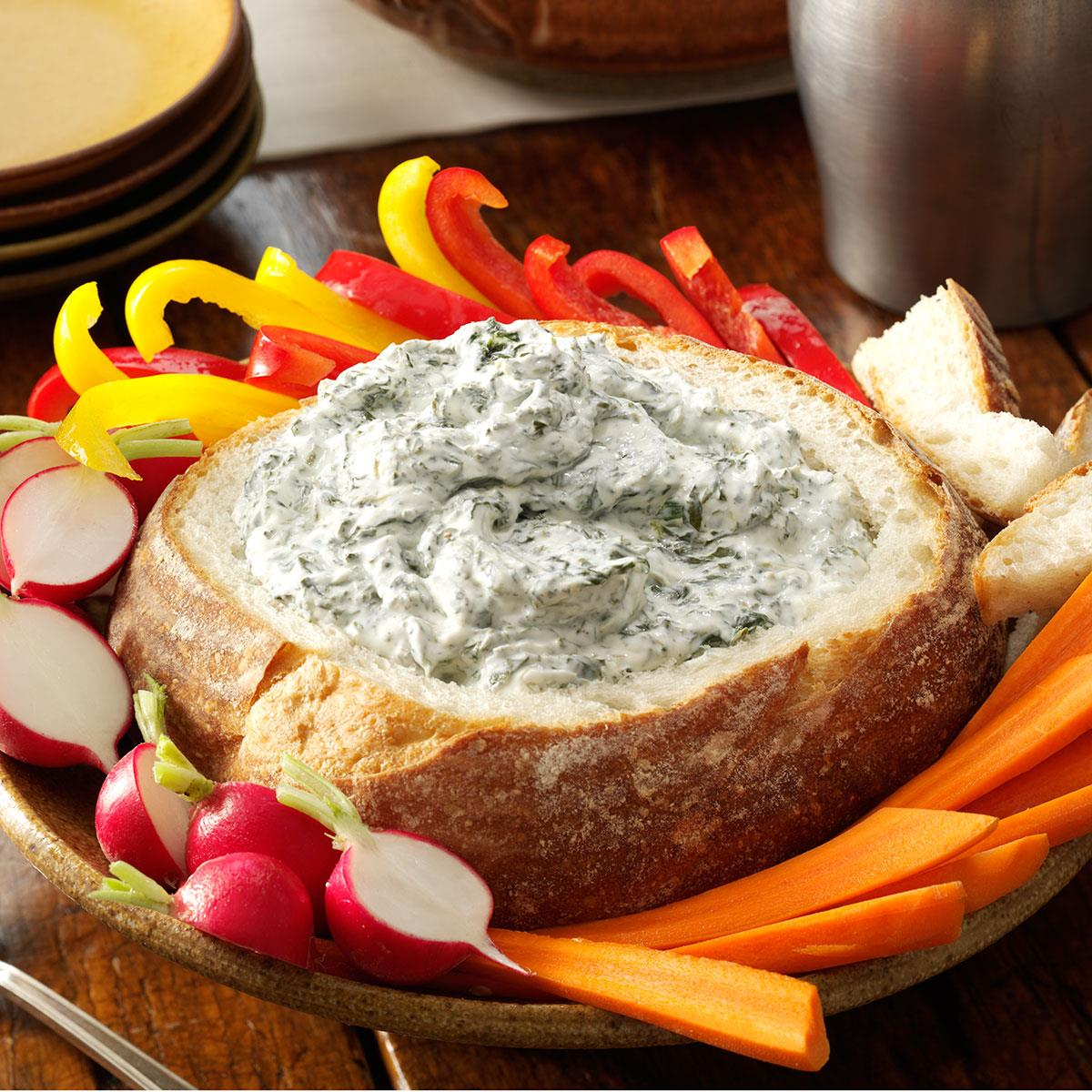 Spinach Dip In A Bread Bowl Recipe Taste Of Home