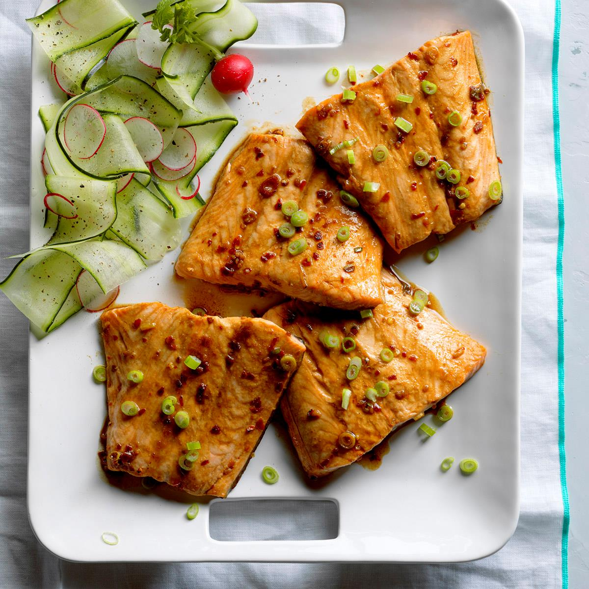 Firecracker grilled salmon recipe taste of home for Food for fish at home
