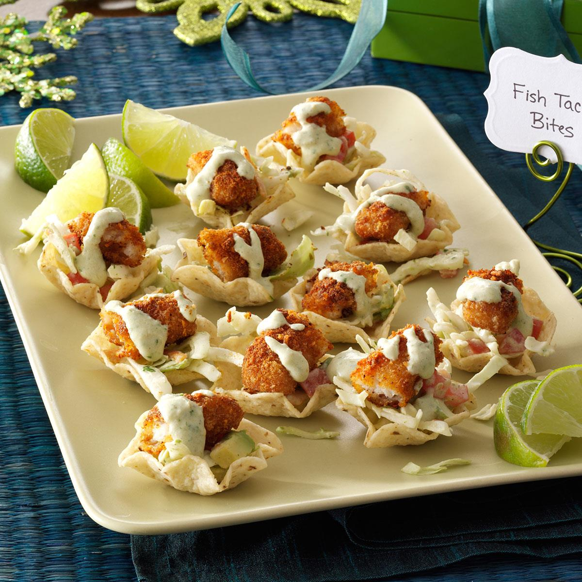 Fish taco bites recipe taste of home for Appetizers to make at home
