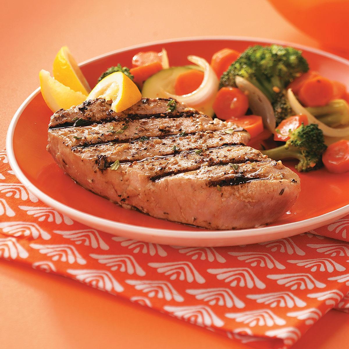 Garlic herbed grilled tuna steaks recipe taste of home for Fish steak recipe