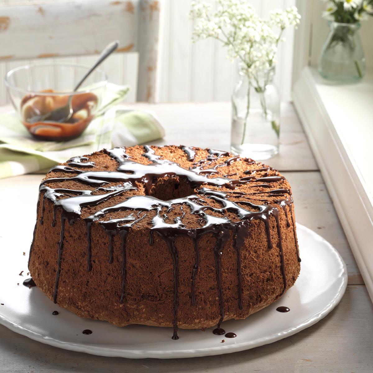 Glazed chocolate angel food cake recipe taste of home - Herve cuisine cake chocolat ...