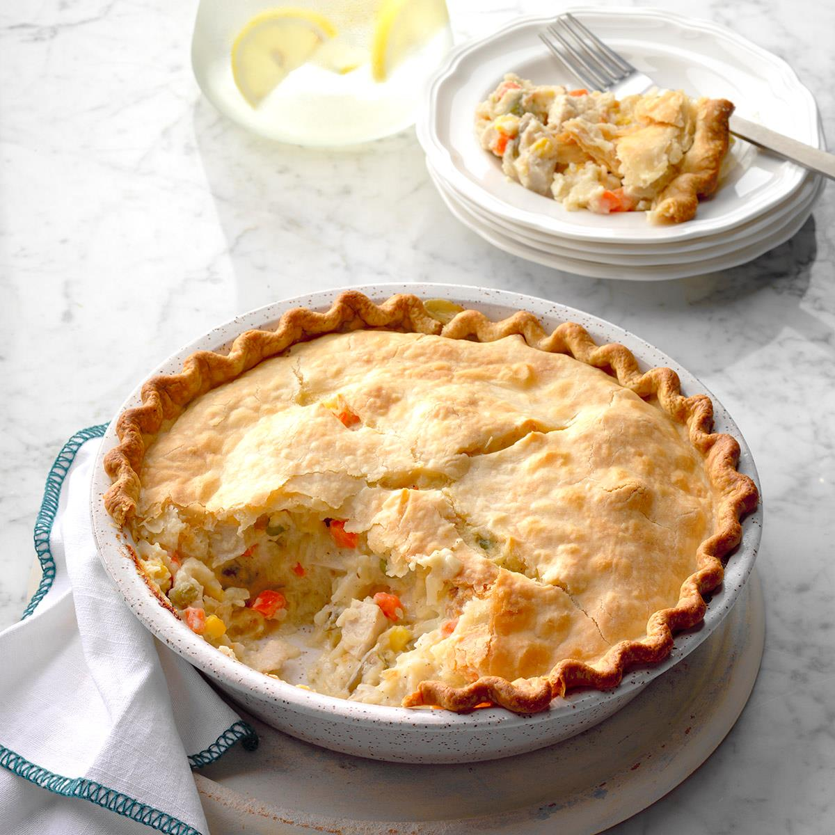 Golden chicken potpie recipe taste of home for Good quiche recipes easy