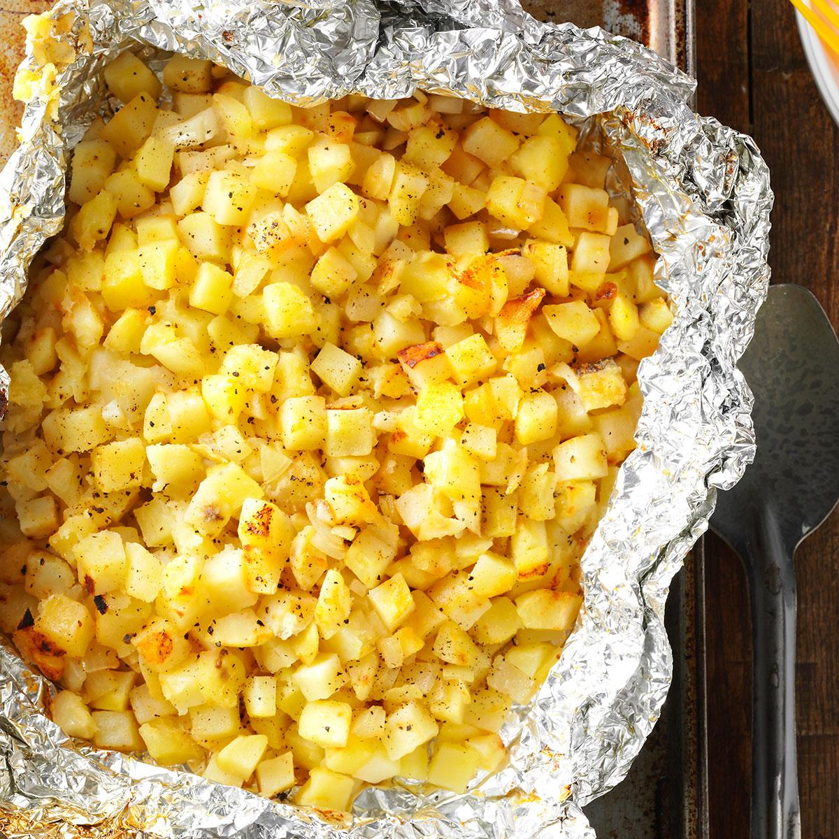 45 Easy Camping Recipes: Grilled Hash Browns Recipe
