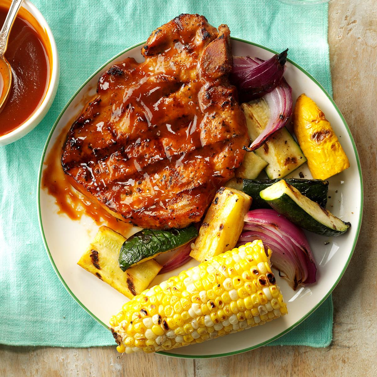 Grilled Pork Chops With Smokin Sauce Recipe Taste Of Home