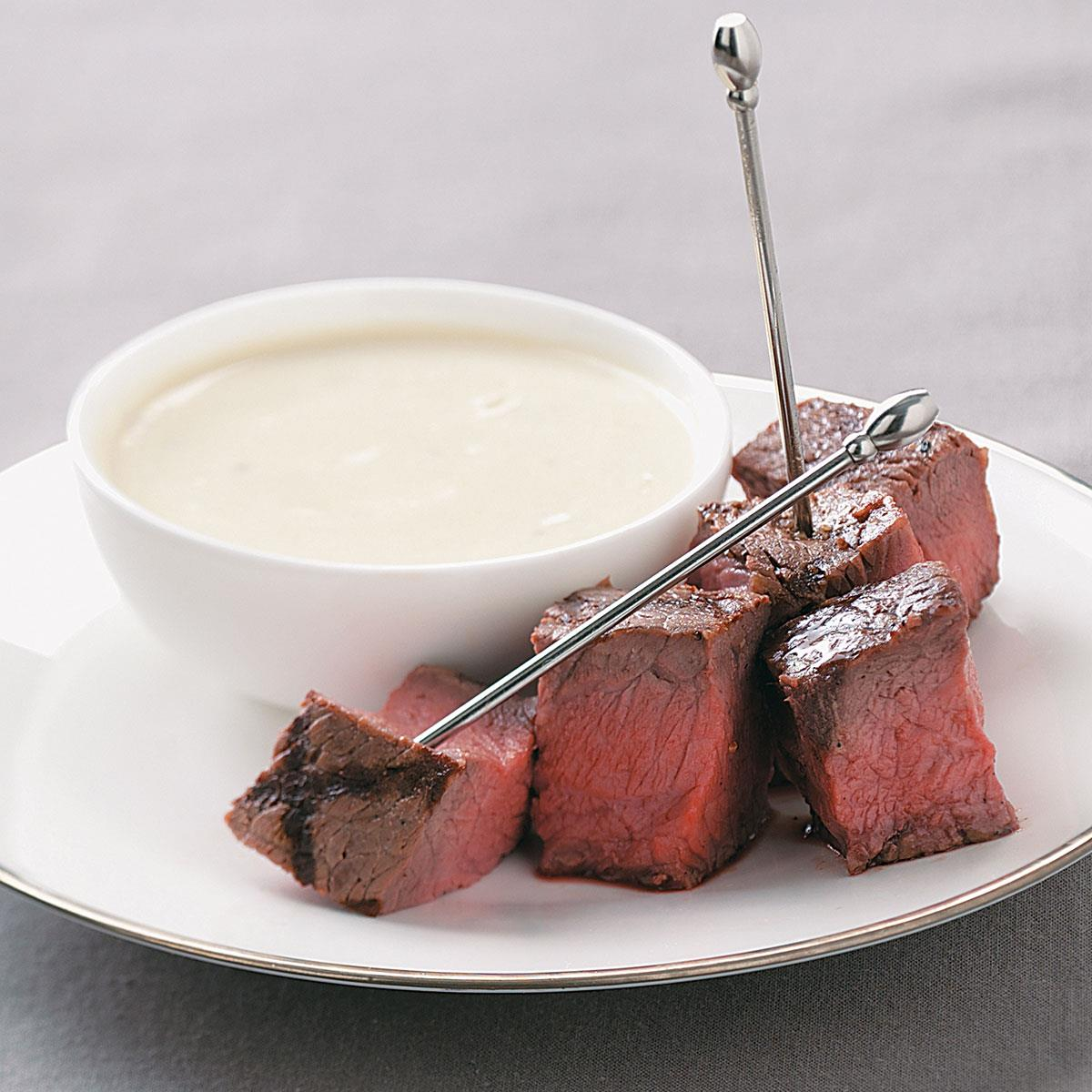 Grilled steak appetizers with stilton sauce recipe taste of home forumfinder Image collections