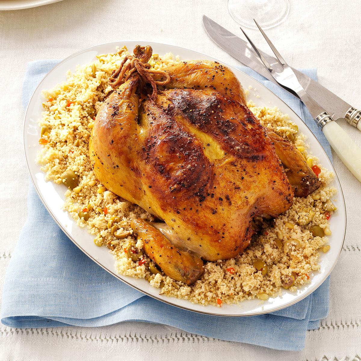 Lemon roasted chicken with olive couscous recipe taste for Couscous food recipe