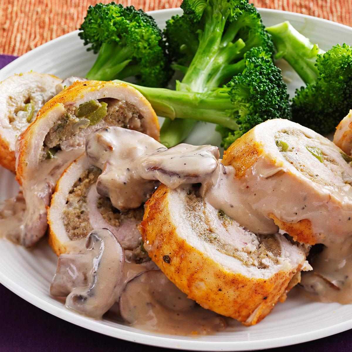 Makeover Stuffed Chicken Breasts With Mushroom Sauce