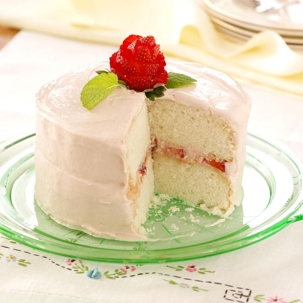white wedding cake with strawberry filling recipe s favorite white cake recipe taste of home 27425