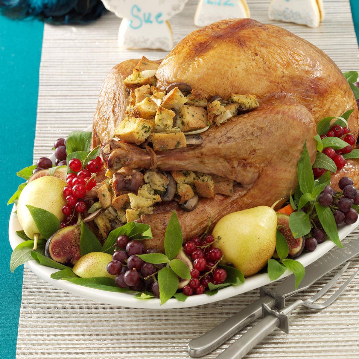 Mushroom-Onion Stuffed Turkey Recipe | Taste of Home