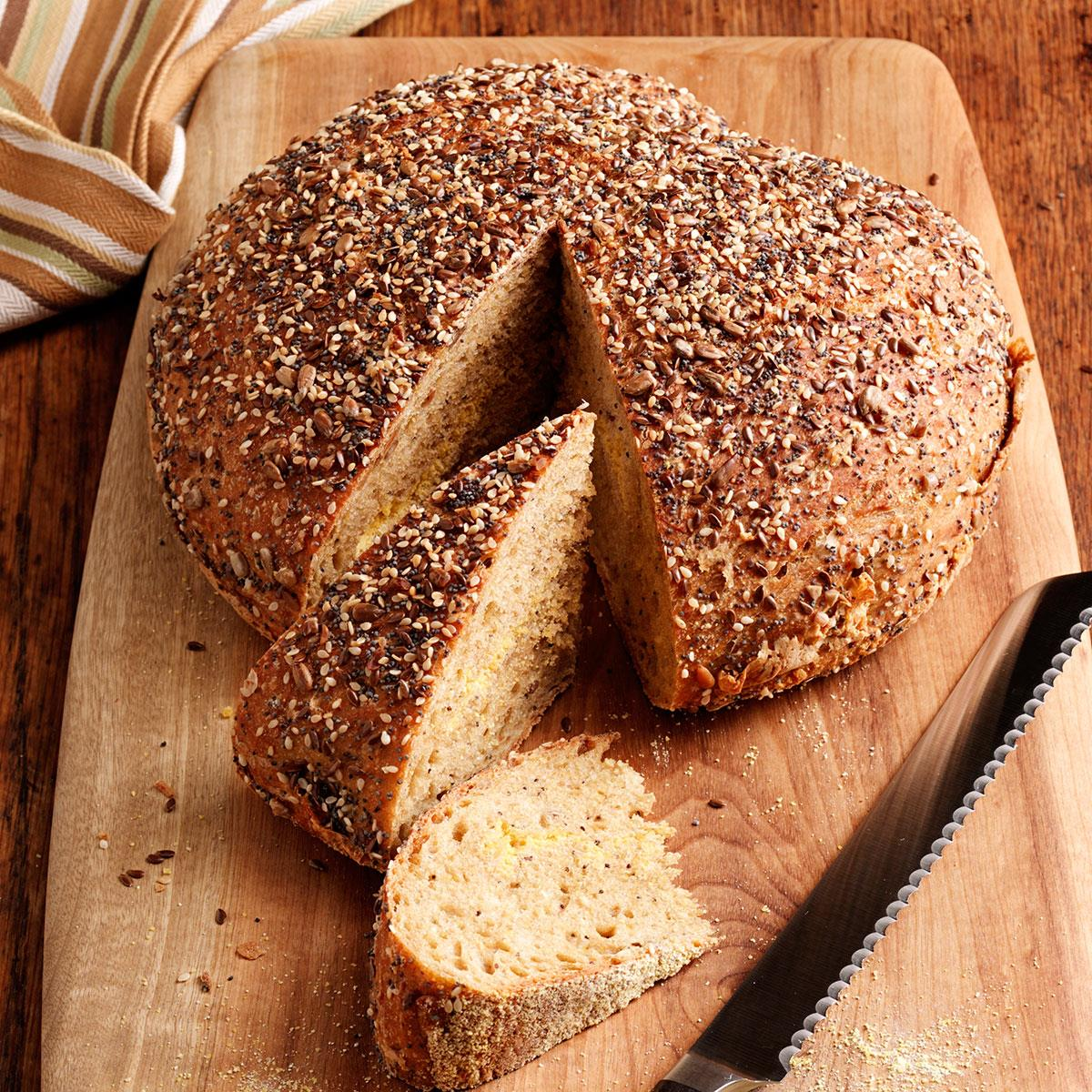 No Knead Harvest Bread Recipe Taste Of Home