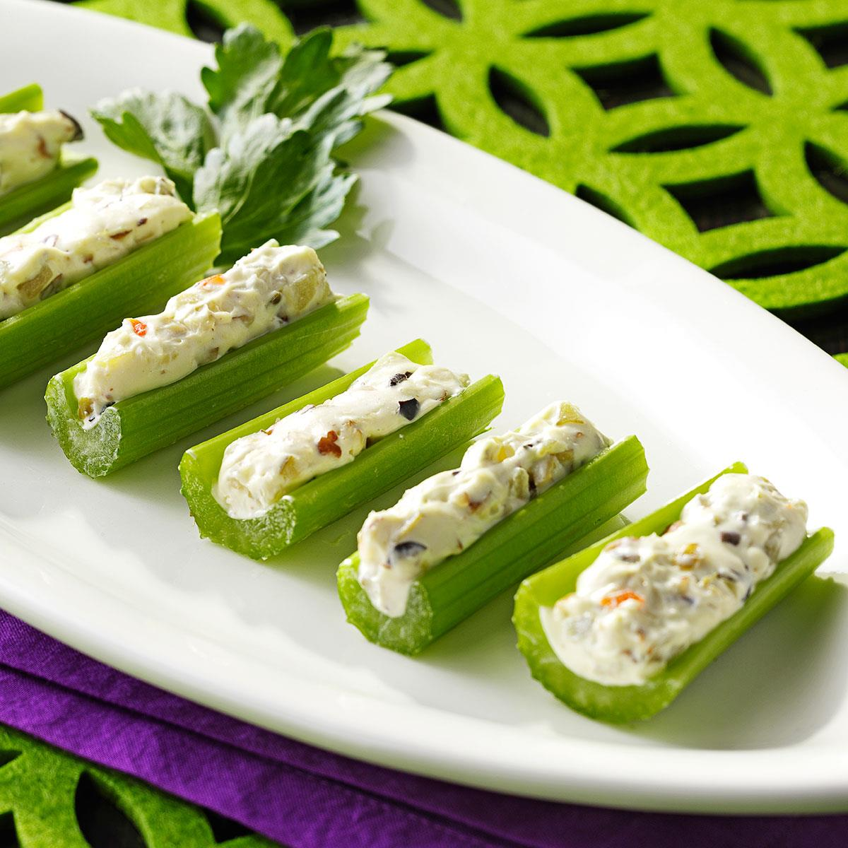 Celery Stuffed With Cream Cheese And Olives