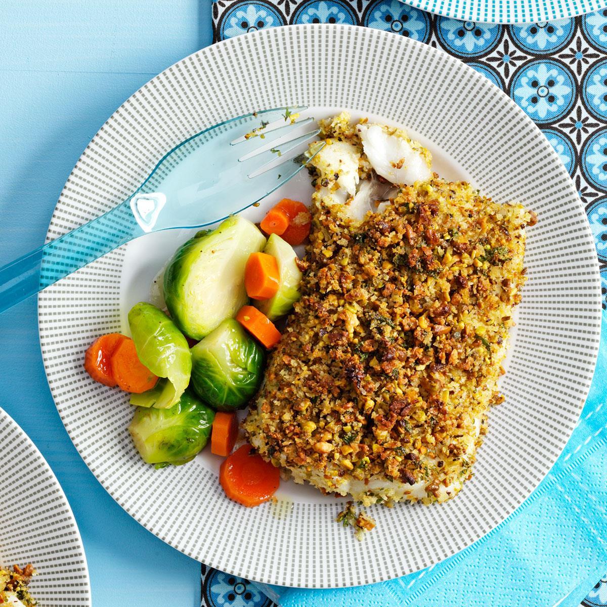 Pistachio crusted fish fillets recipe taste of home for Breaded fish recipe