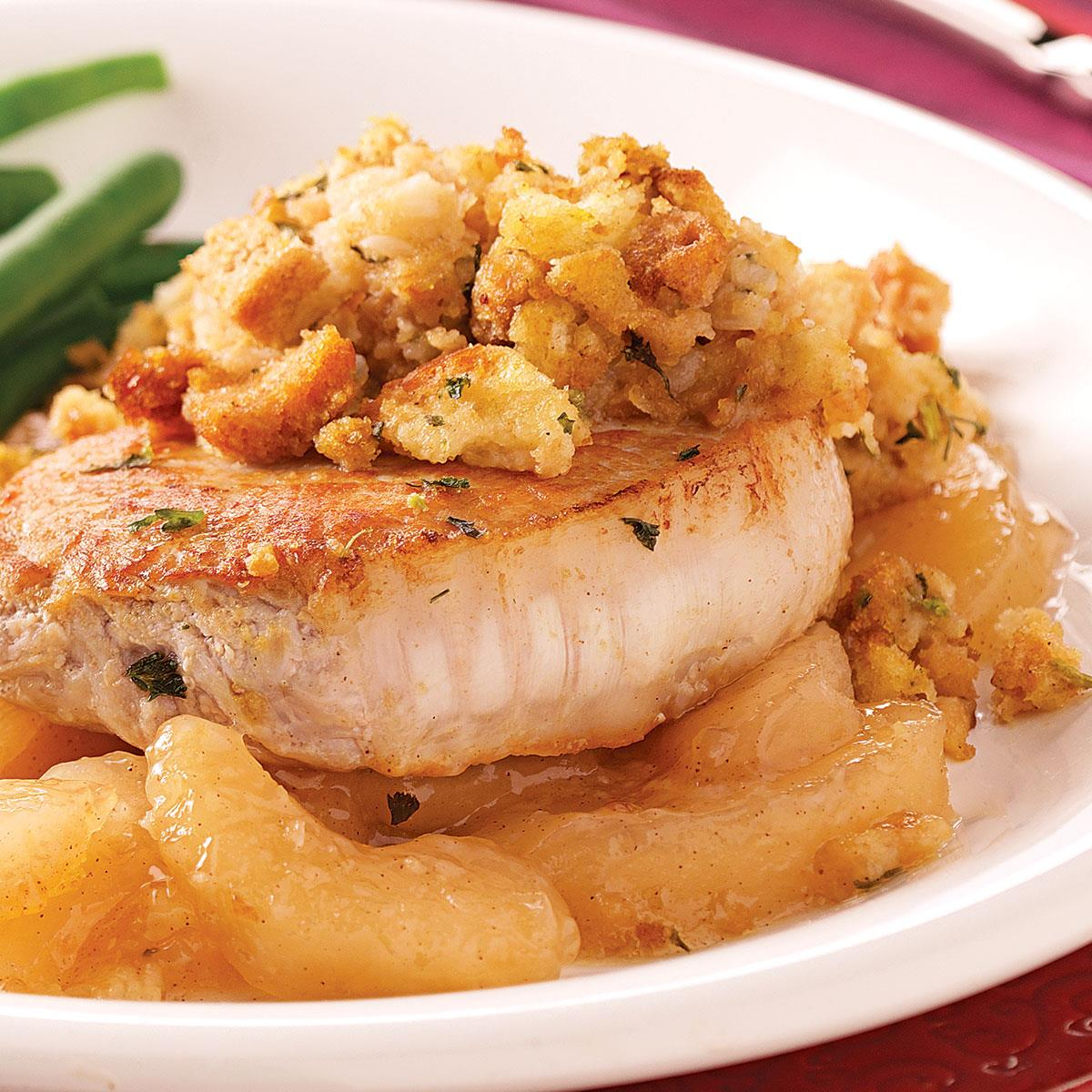 stuffed pork chop recipe pork chops with apples and recipe taste of home 12142