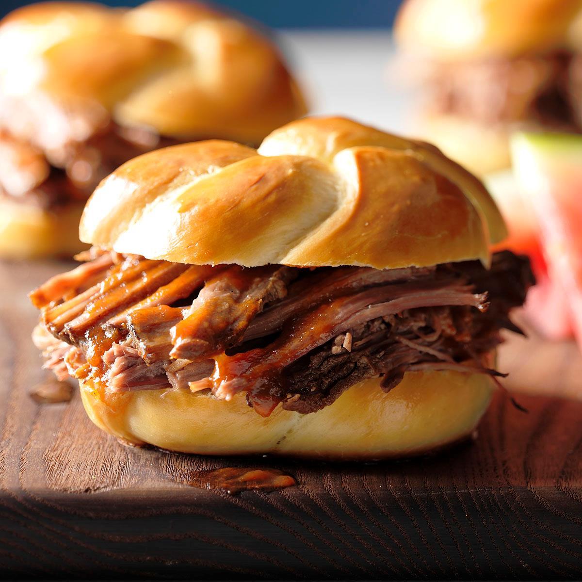 Pulled Brisket Sandwiches Recipe | Taste of Home