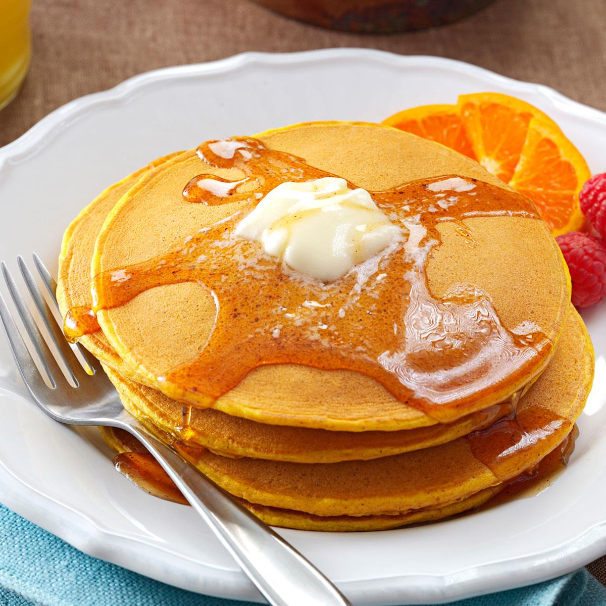 Pumpkin Pancakes With Sweet Apple Cider Syrup Recipe