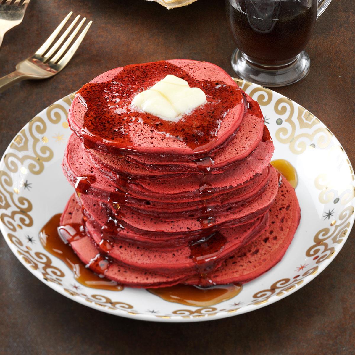 Red Velvet Pancakes Recipe Taste Of Home