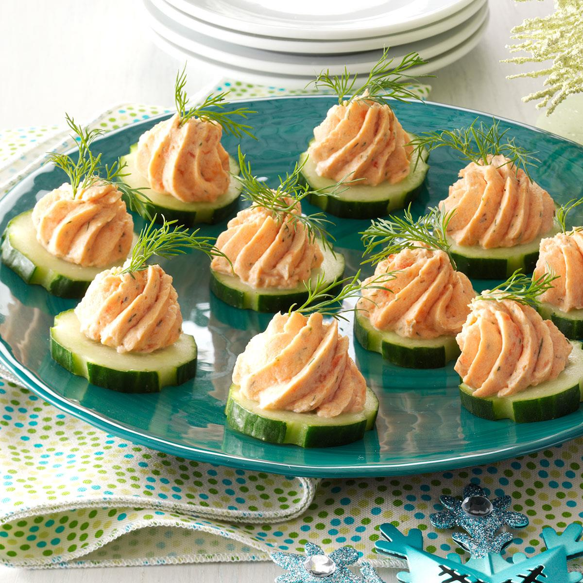 Salmon mousse canapes recipe taste of home for Canape suggestions
