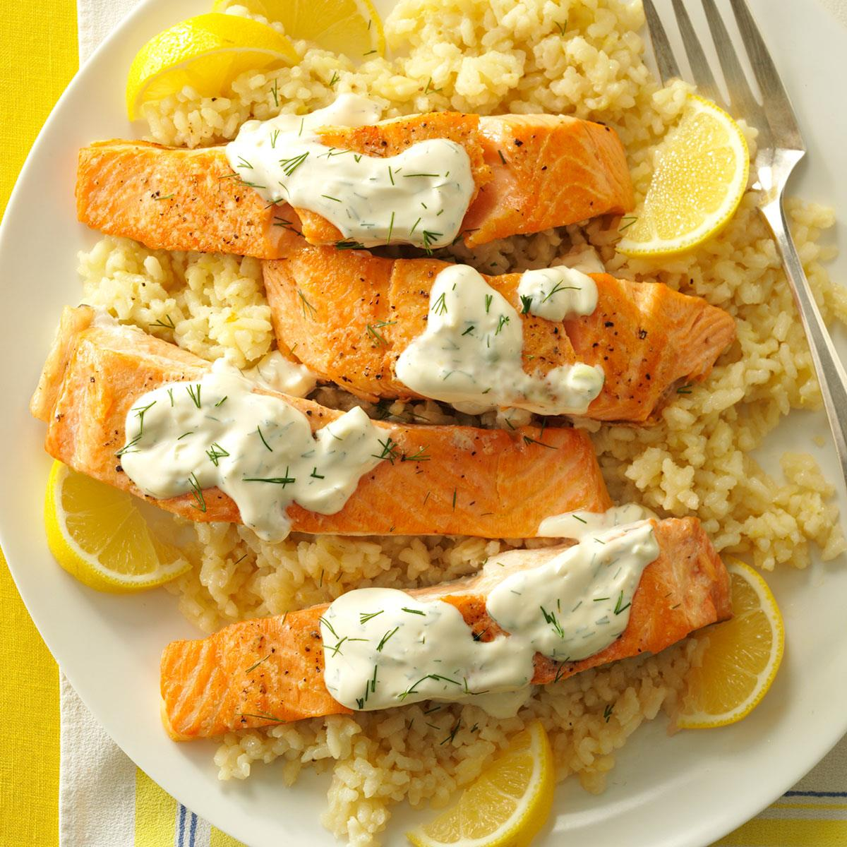 salmon with dill sauce lemon risotto recipe taste of home. Black Bedroom Furniture Sets. Home Design Ideas