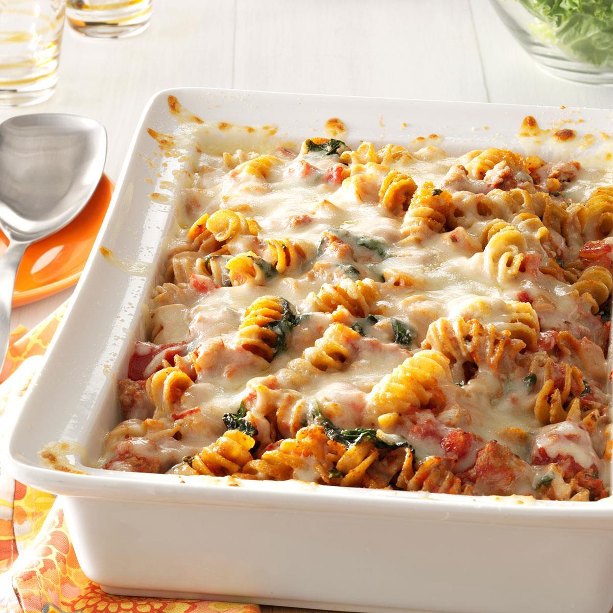 Sausage spinach pasta bake recipe taste of home for Creamy spinach pasta bake