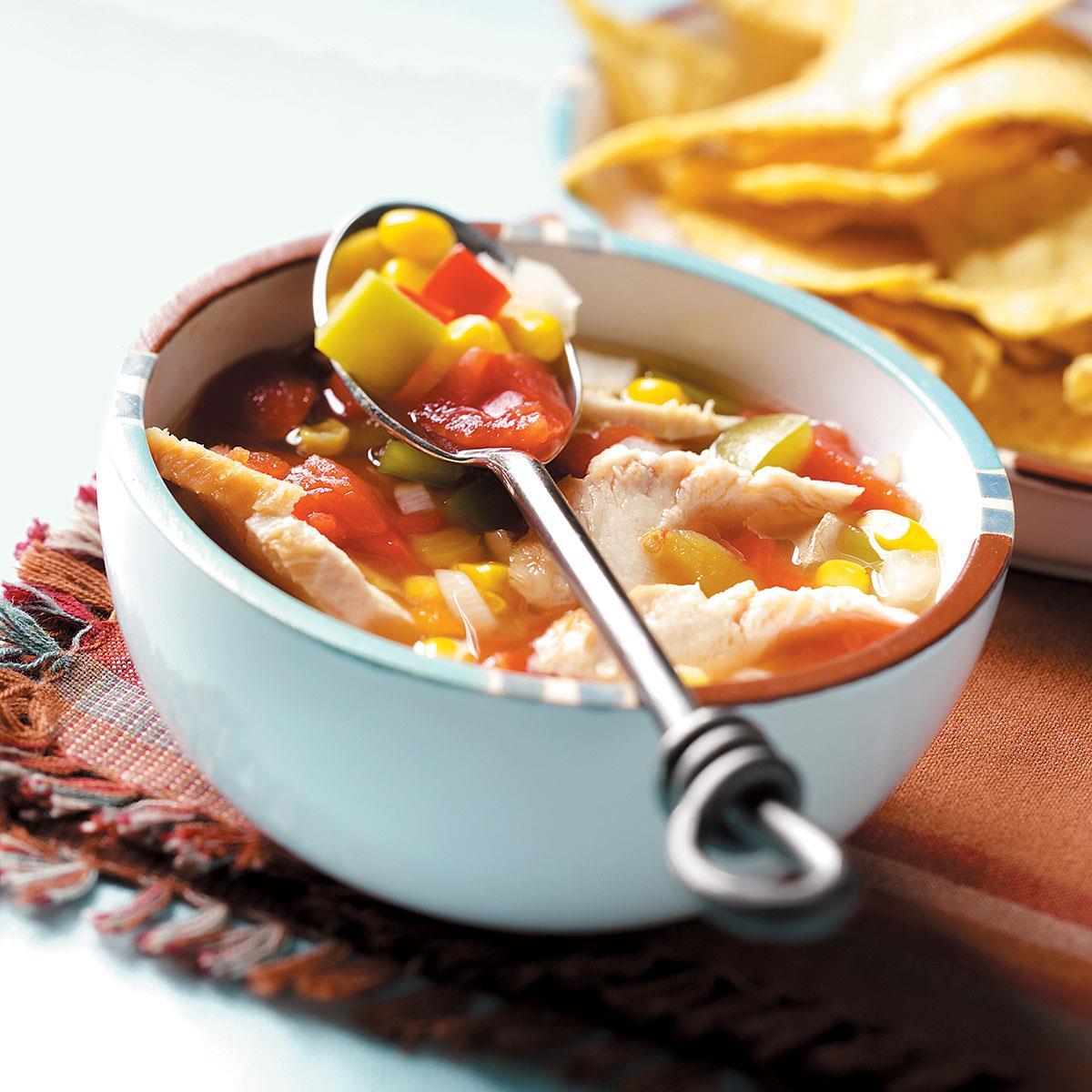 slow cooker southwestern chicken soup recipe taste of home