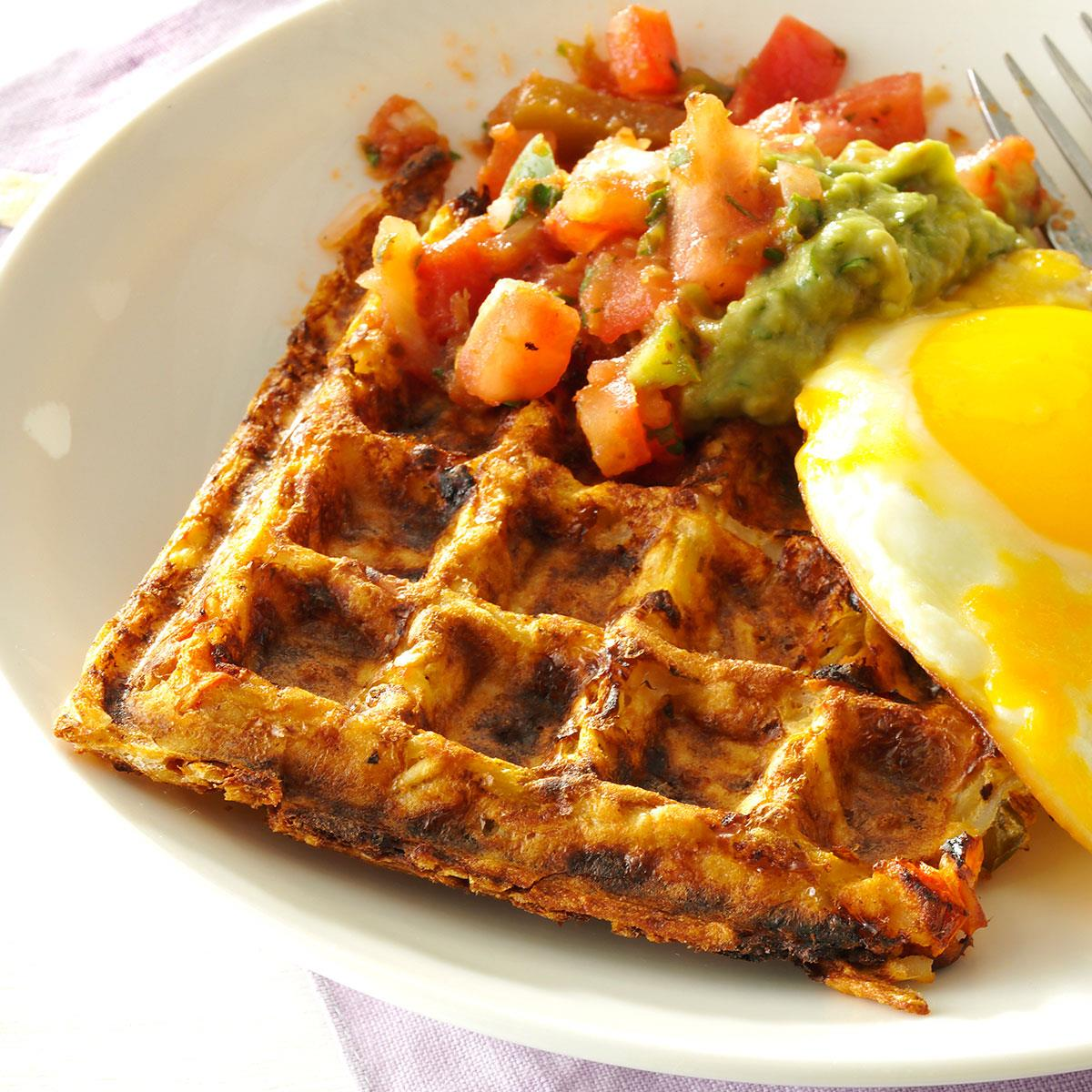 Spicy Hash Brown Waffles With Fried Eggs Recipe Taste Of