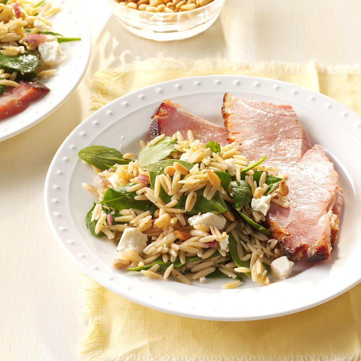 Mediterranean Pork And Orzo Recipe: Spinach Orzo Salad Recipe