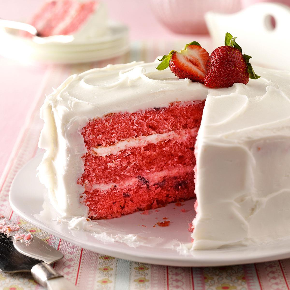 Strawberry Cake From Box With Fresh Strawberries