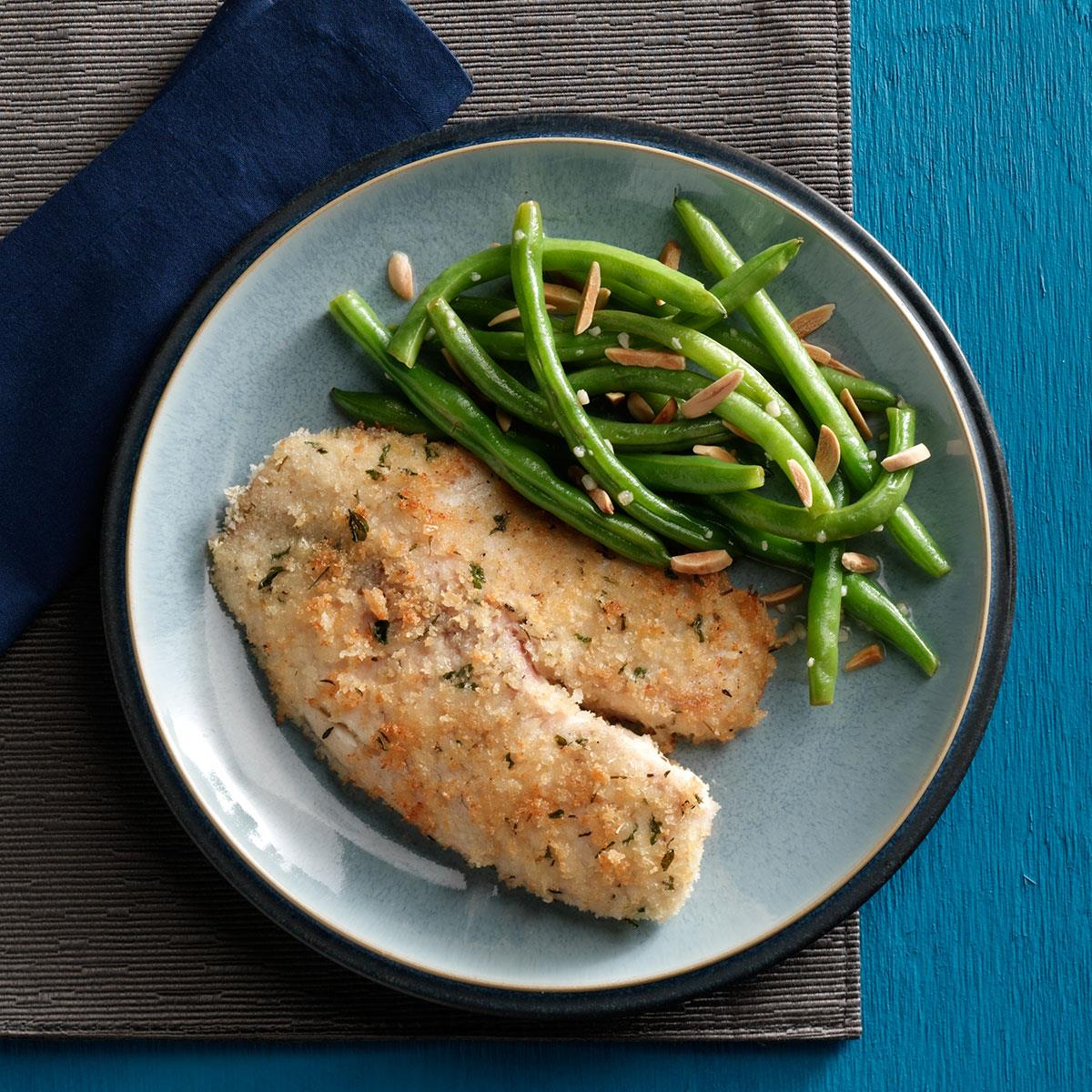 Tilapia With Green Beans Amandine Recipe Taste Of Home