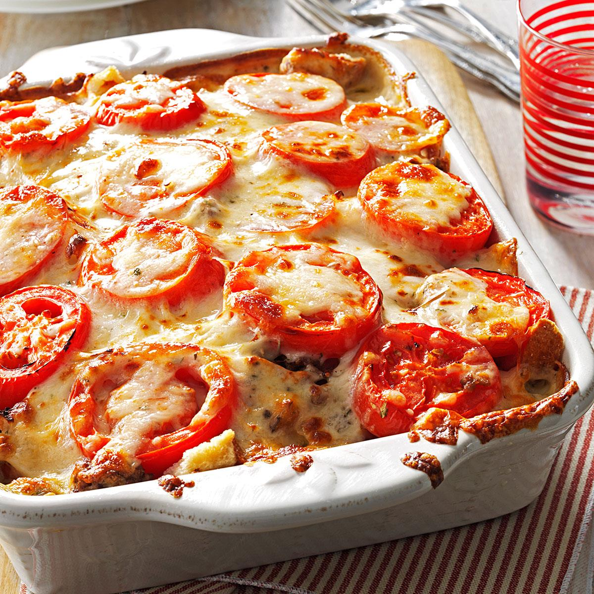 tomato french bread lasagna recipe taste of home. Black Bedroom Furniture Sets. Home Design Ideas