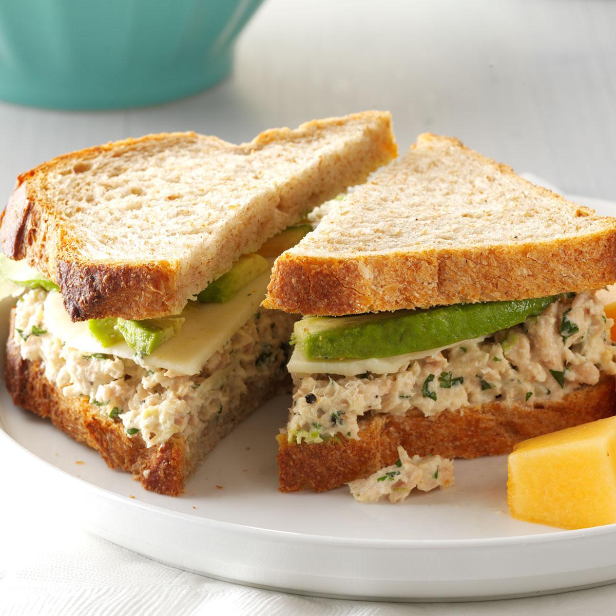 Cilantro avocado tuna salad sandwiches recipe taste of home for How to make tuna fish sandwich