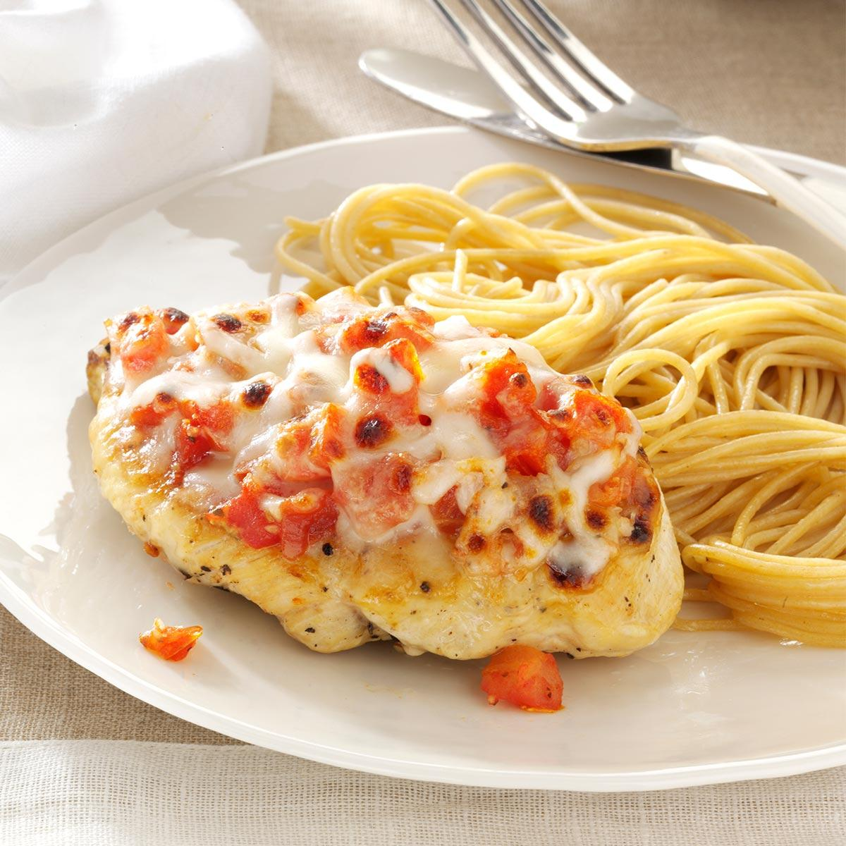Bruschetta Topped Chicken Spaghetti Recipe Taste Of Home