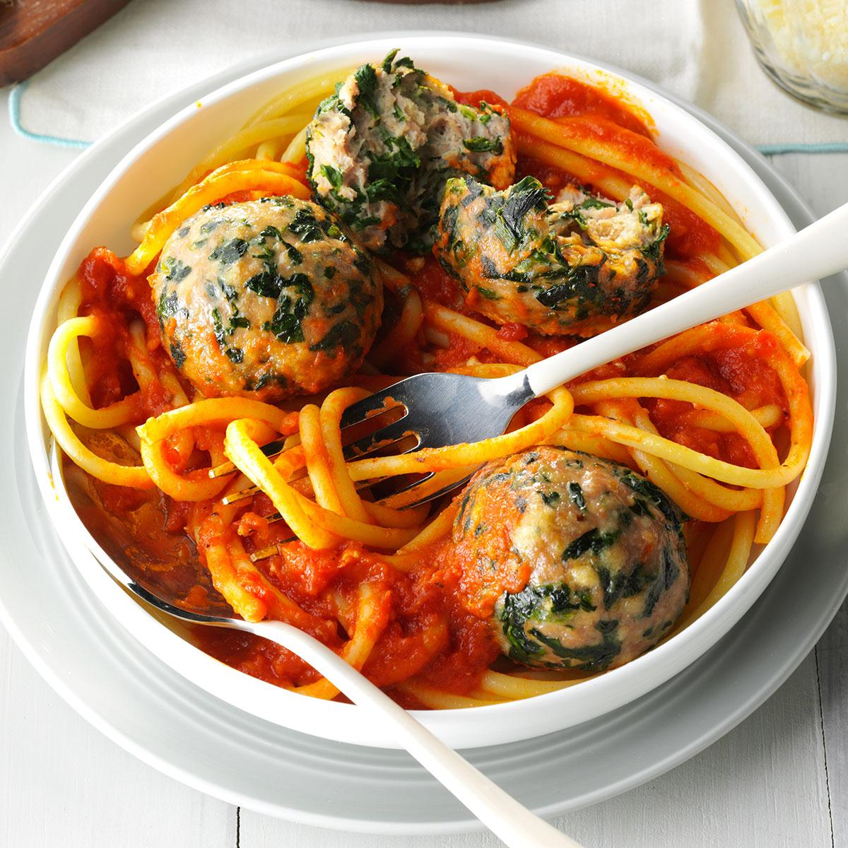 Spinach turkey meatballs recipe taste of home for Baked pasta with meatballs and spinach
