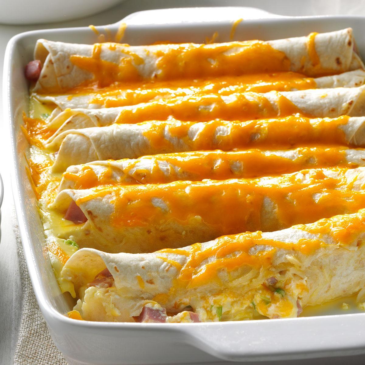 30 Brunch Ideas Including Ham Cheese Crescent Puffs: Brunch Ham Enchiladas Recipe